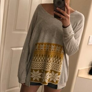 NWOT Free People Embroidered Front Sweatshirt